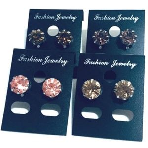 """4 Pairs of Fashion Jewelry Earrings 0.3in""""(0.8cm)"""